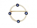Tiffany & Co. Montana Sapphire and Natural Saltwater Pearl Brooch in Platinum and 14K Gold