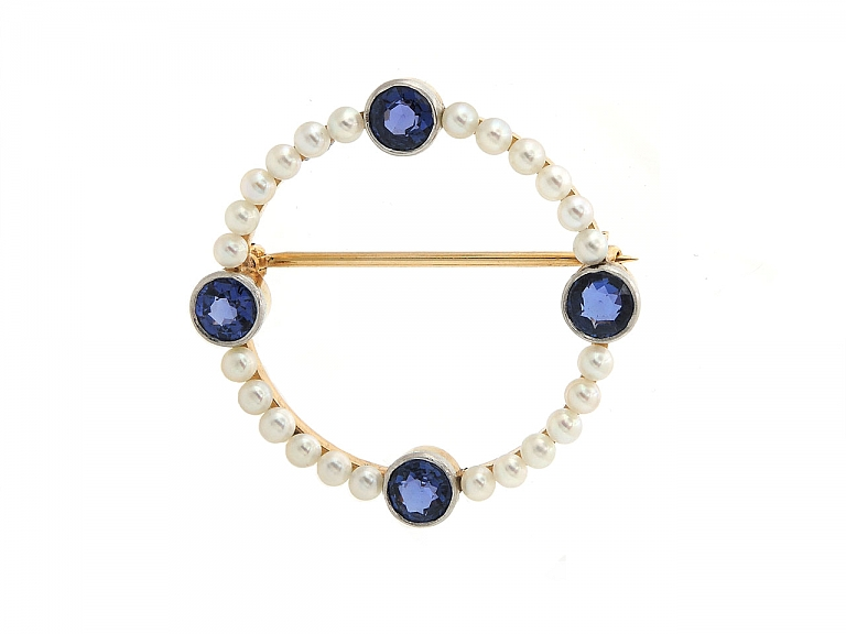 Video of Tiffany & Co. Montana Sapphire and Natural Saltwater Pearl Brooch in Platinum and 14K Gold