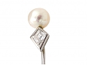 Art Deco Natural Saltwater Pearl and Diamond Pin in Platinum and White Gold
