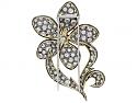 Diamond Flower Brooch in Blackened Platinum