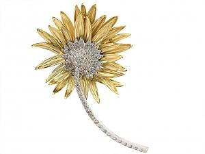 Marlene Stowe Diamond Flower Brooch in 18K Gold