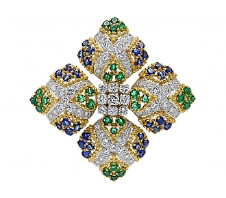 Emerald, Sapphire and Diamond Brooch in 18K Gold