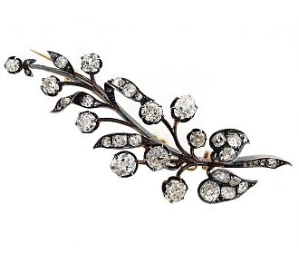 Antique Victorian Diamond Leaf Brooch In Silver over Gold