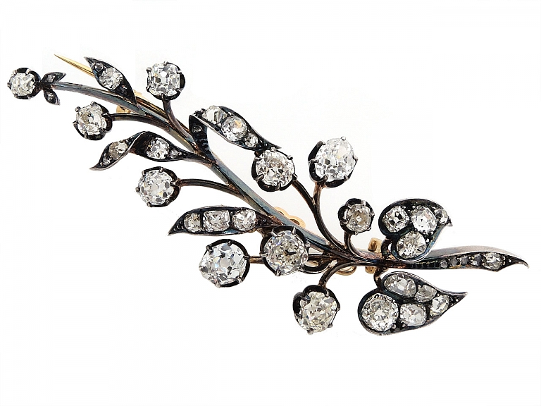 Video of Antique Victorian Diamond Leaf Brooch In Silver over Gold