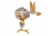 Diamond Hummingbird and Flower Brooch in 18K Gold and Platinum
