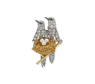 Diamond, Pearl and Sapphire Bird's Nest Brooch in Platinum and 18K Gold