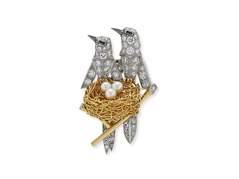 Video of Diamond, Pearl and Sapphire Bird's Nest Brooch in Platinum and 18K Gold