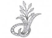 Mid-Century Diamond Flower Brooch in Platinum