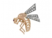 Retro Bee Brooch with Diamond Wings and Tourmaline Eye in 18K Gold