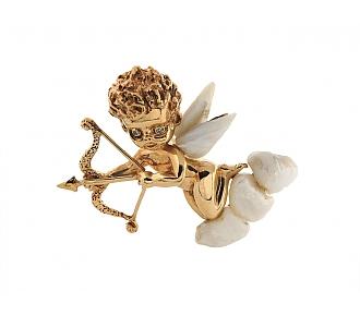 Ruser American Freshwater Pearl Cupid Brooch in 14K Gold