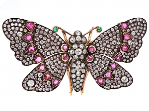 Ruby and Diamond Butterfly Brooch in 18K Gold