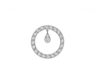 Art Deco Diamond Circle Brooch in Platinum