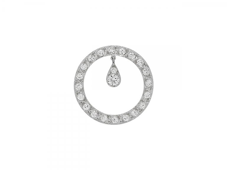 Video of Art Deco Diamond Circle Brooch in Platinum