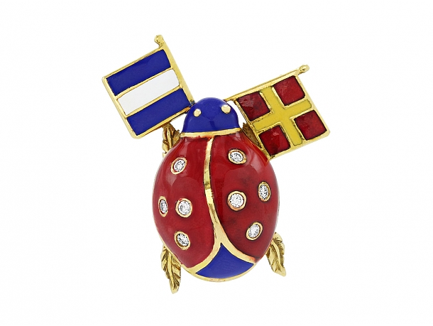 Diamond and Enameled Ladybug Brooch with Flags in 18K Gold