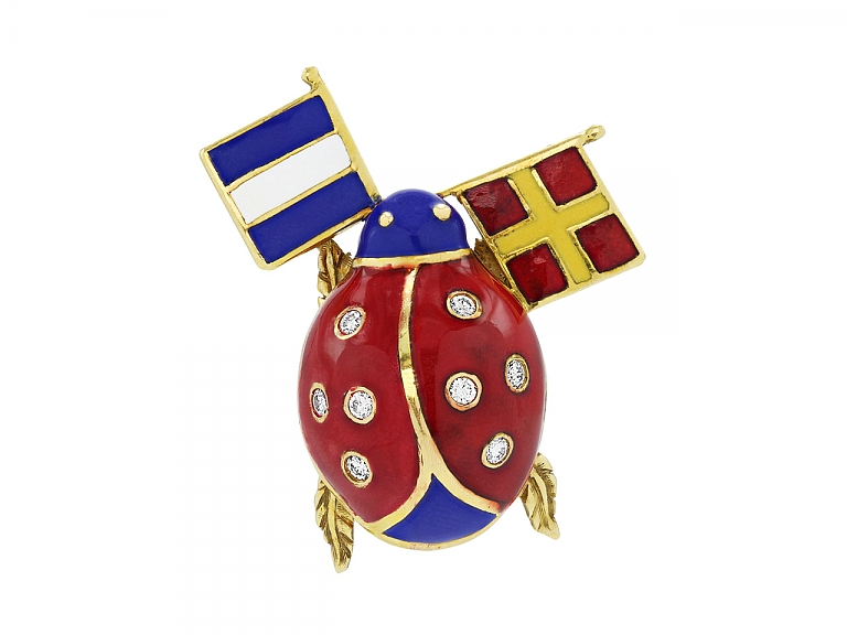 Video of Diamond and Enameled Ladybug Brooch with Flags in 18K Gold