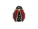 Ladybug Brooch in Enamel and 14K Gold