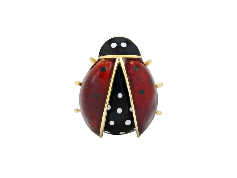 Video of Ladybug Brooch in Enamel and 14K Gold