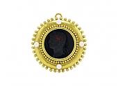 Elizabeth Locke Venetian Glass Intaglio Brooch/Pendant in 18K Gold