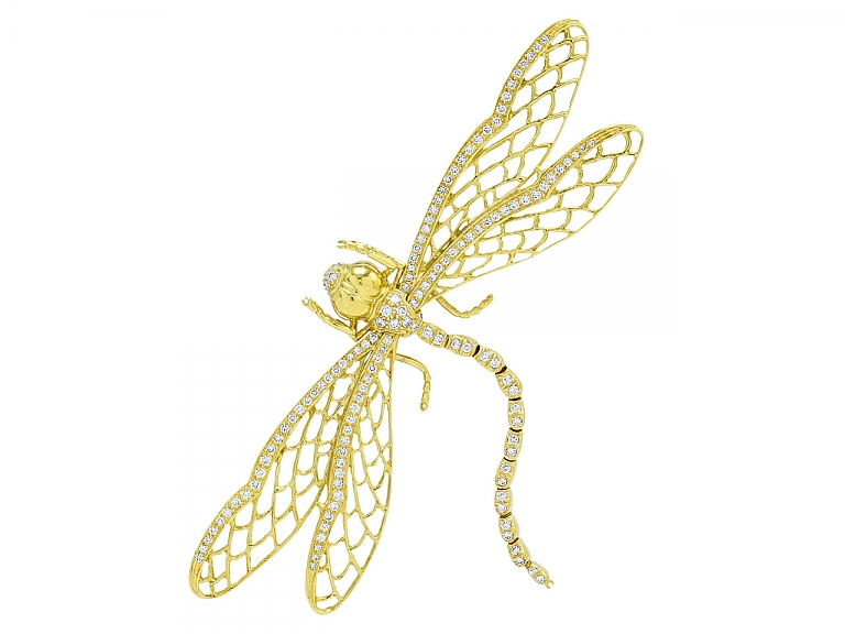 Video of Dragonfly Brooch in 18K Gold
