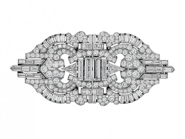 Art Deco Diamond Double Clip Brooch in Platinum