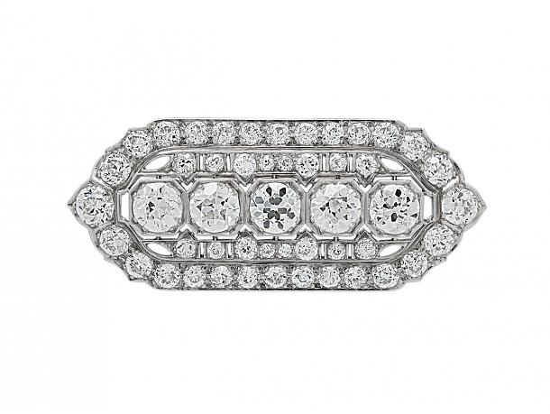 Art Deco Diamond Brooch/Pendant in Platinum