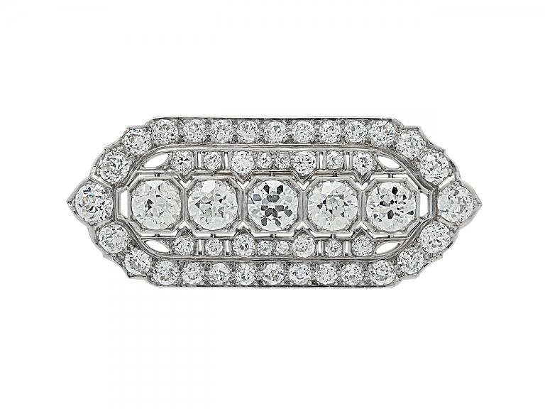 Video of Art Deco Diamond Brooch/Pendant in Platinum