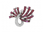 Ruby and Diamond Pin in Platinum
