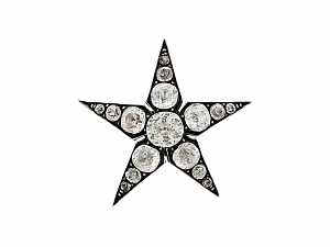 Antique Paste Stone Star Brooch in Silver