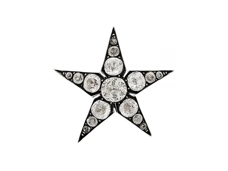Video of Antique Paste Stone Star Brooch in Silver