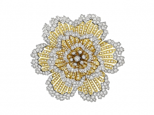 Diamond Flower Brooch in 18K Gold