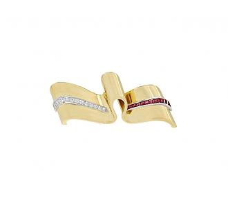 Retro Tiffany & Co. Ruby & Diamond Ribbon Pin in 14K Gold