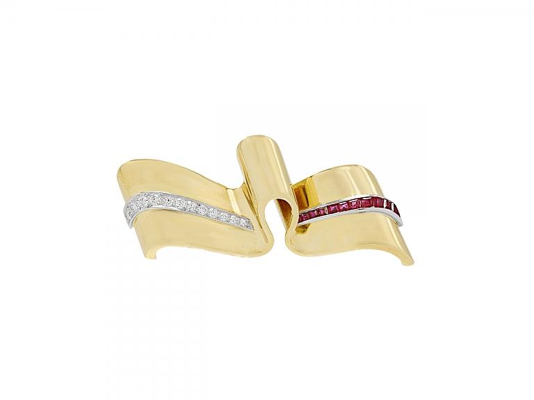 Video of Retro Tiffany & Co. Ruby & Diamond Ribbon Pin in 14K Gold