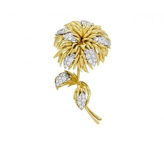 Pierre J. Touraine Diamond Flower Brooch in 18K and Platinum