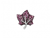 Martin Katz Small Pink Sapphire and Diamond Leaf Brooch in 18K Gold, Small