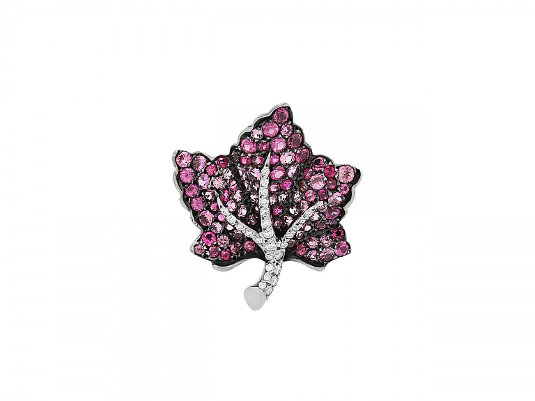 Video of Martin Katz Small Pink Sapphire and Diamond Leaf Brooch in 18K Gold, Small