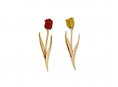 Pair of Fred Paris Tulip Coral Pins in 18K Gold