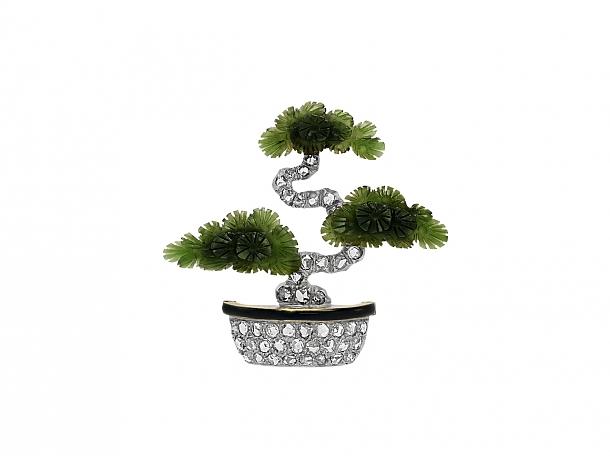 Art Deco Carved Nephrite Jade, Diamond and Enamel Bonsai Tree Brooch in 14K Gold
