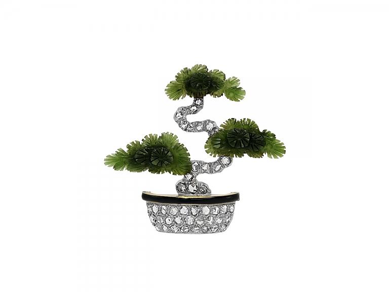 Video of Art Deco Carved Nephrite Jade, Diamond and Enamel Bonsai Tree Brooch in 14K Gold