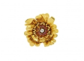 Ruby and Diamond Flower Brooch in 18K Gold