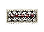 Antique Victorian Spinel, Pearl and Diamond Brooch in Silver over Gold
