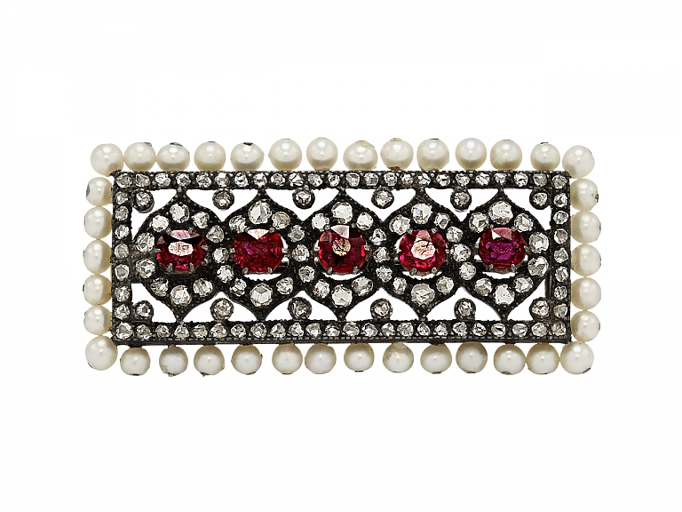 Video of Antique Victorian Spinel, Pearl and Diamond Brooch in Silver over Gold