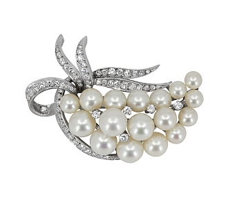 Cultured Pearl and Diamond Brooch in 14K White Gold