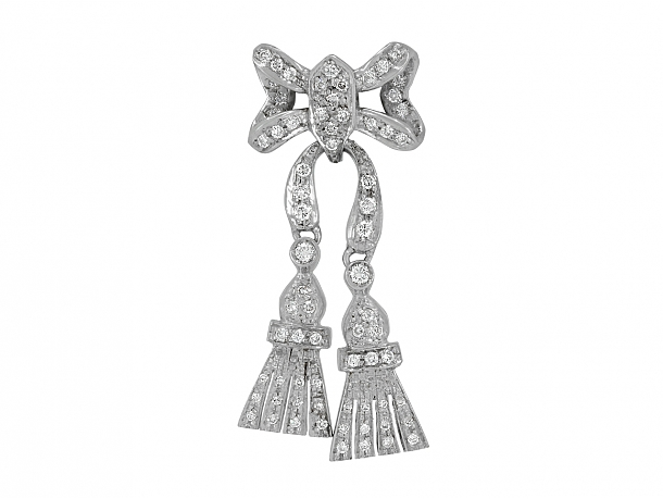 Diamond Bow Brooch in 18K White Gold