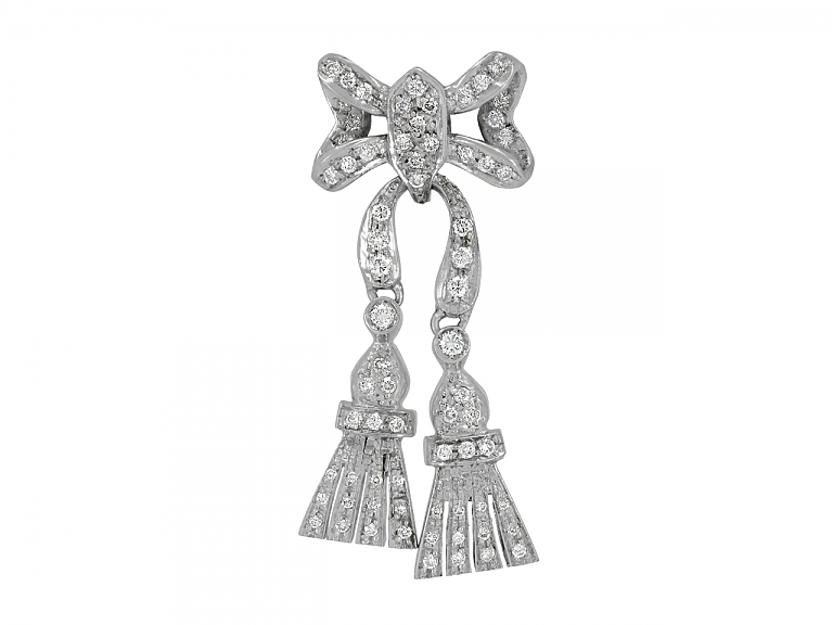Video of Diamond Bow Brooch in 18K White Gold