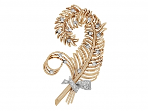 Diamond Feather Brooch in 18K Rose Gold
