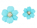 Pair of Van Cleef & Arpels Turquoise and Diamond Rose de Noël Brooches in 18K