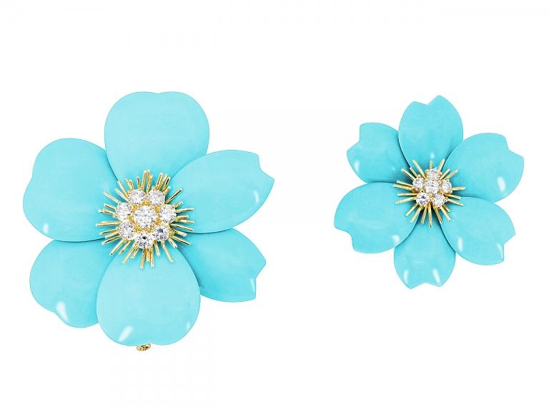 Video of Pair of Van Cleef & Arpels Turquoise and Diamond Rose de Noël Brooches in 18K