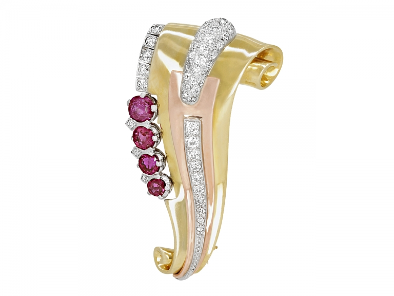 Video of Retro Ruby and Diamond Scroll Brooch in 14K Gold