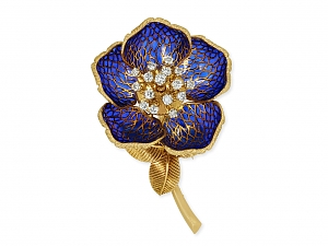 French Plique-à-jour Diamond Flower Brooch in 18K Gold