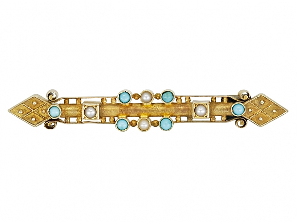 Antique Victorian Turquoise and Pearl Pin in Gold